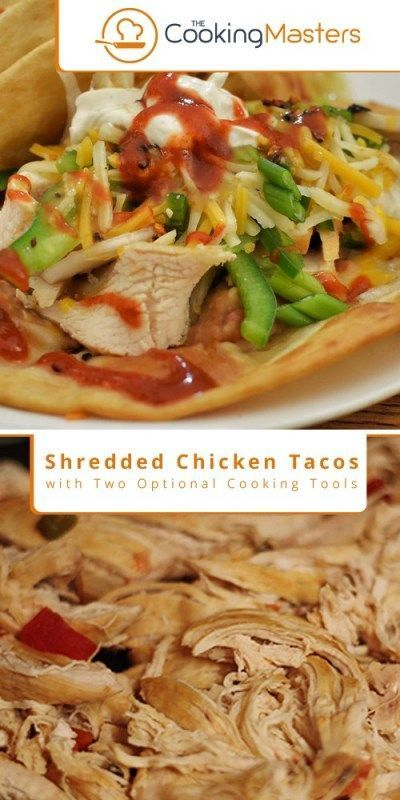 Shredded Chicken Tacos Recipe with Two Optional Cooking Tools #shreddedchickentacos Shredded chicken tacos taste amazingly delicious and are perfect for many dishes companion. If you have it at home, you can have countless way to serve this dish with Mexican cooking. Some of the top recommended dishes are quesadillas, burritos, huevos rancheros, enchiladas, salads, chilaquiles, nachos, tamales, tostadas, and many more. ' Making shredded chicken is not hard. Following this recipe, you will only #shreddedchickentacos