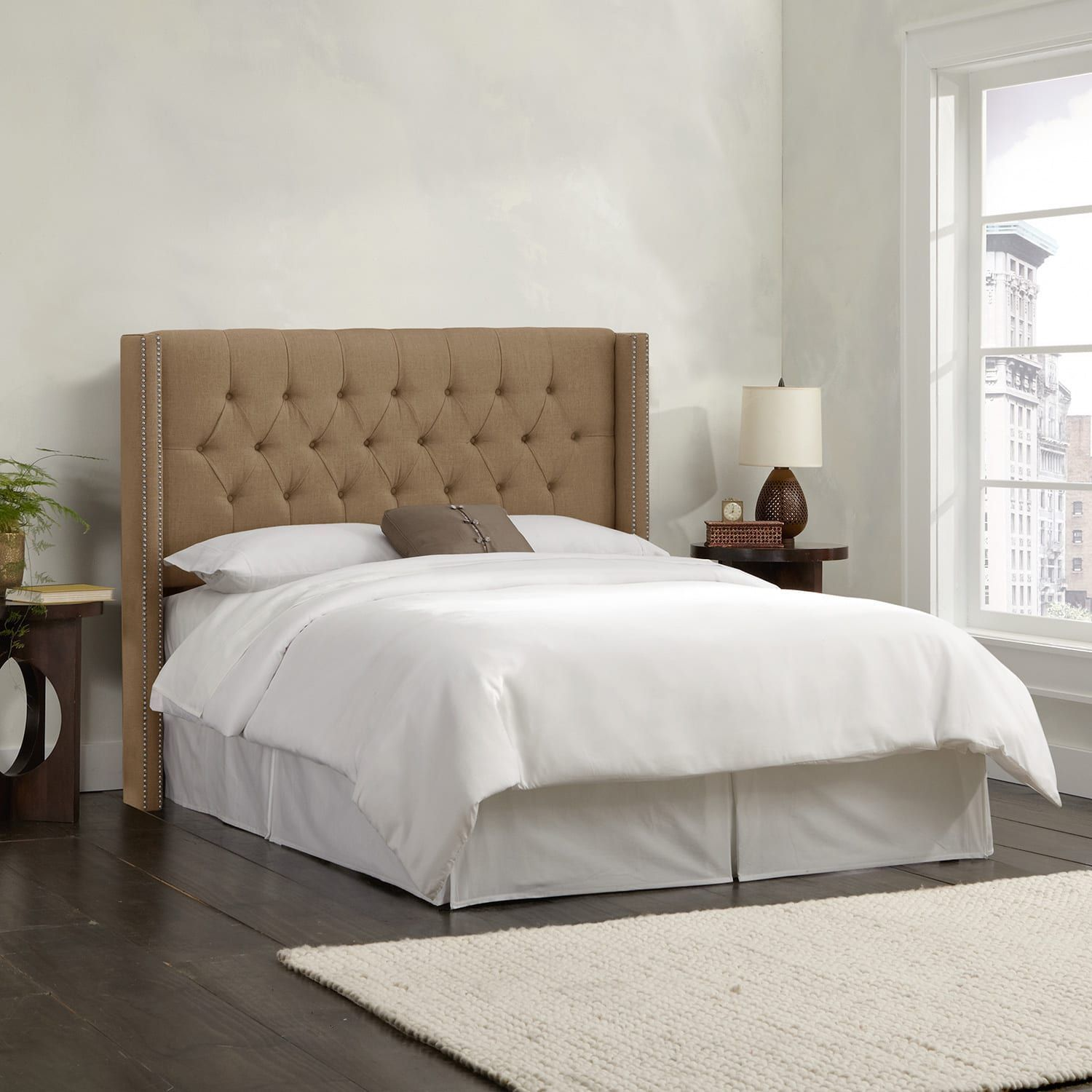 Skyline Furniture Linen Taupe (Brown) Diamond Tufted Wingback Headboard (Queen,