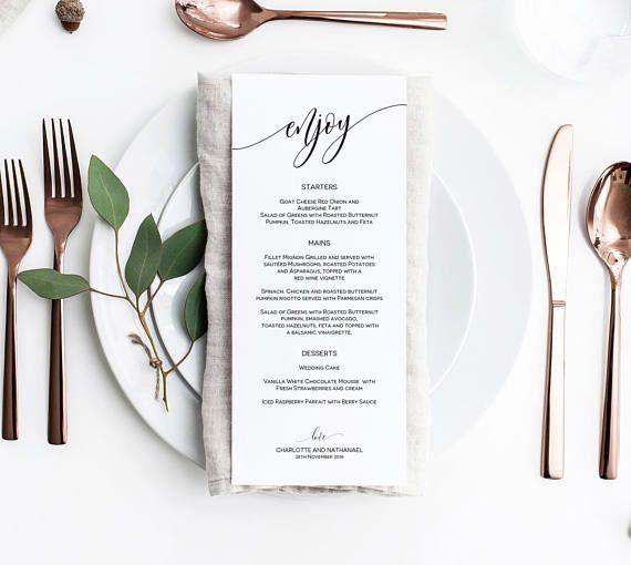Wedding Menu Printable Wedding Menu Template Editable Menu