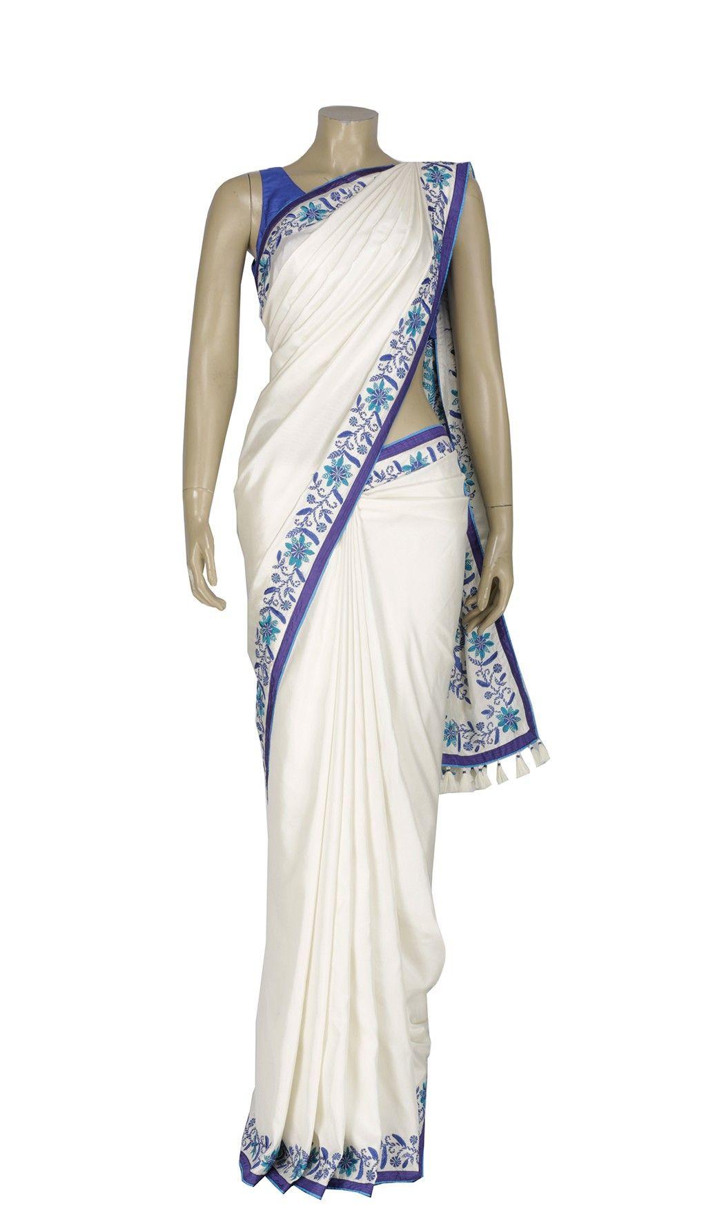White and Blue Kantha Embroidered Silk Saree #aarong #Bangladesh ...
