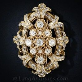 Large Victorian Diamond Brooch - Victorian Jewelry - Vintage Jewelry CLIP BROOCH
