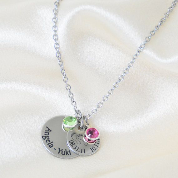 Personalized Mothers Necklace Names Dates by CarensLaser on Etsy