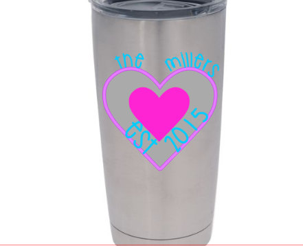 Couple Heart Vinyl Decal For Yeti Cup For Married By RedandthePug - Vinyl cup decals