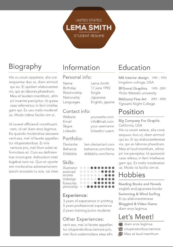 Graduate Student Resume Template  Creative Resume Templates