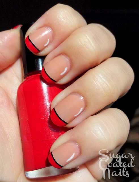 Red Tips On Nail Turn The Black Into White And Bring In A Hawaiian Flower Ring Fingers