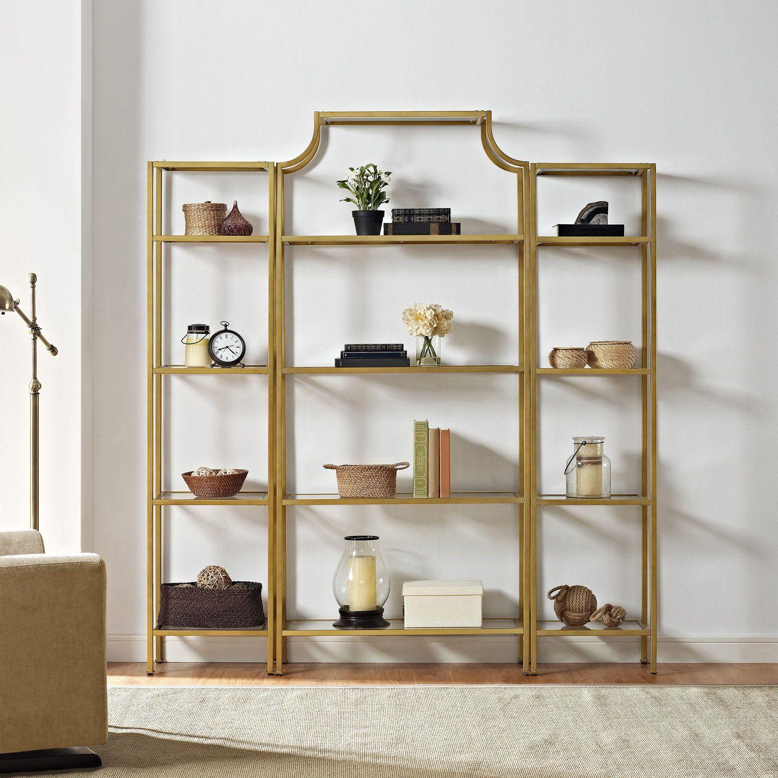 Home Etagere Bookcase Glass Shelves Bookcase