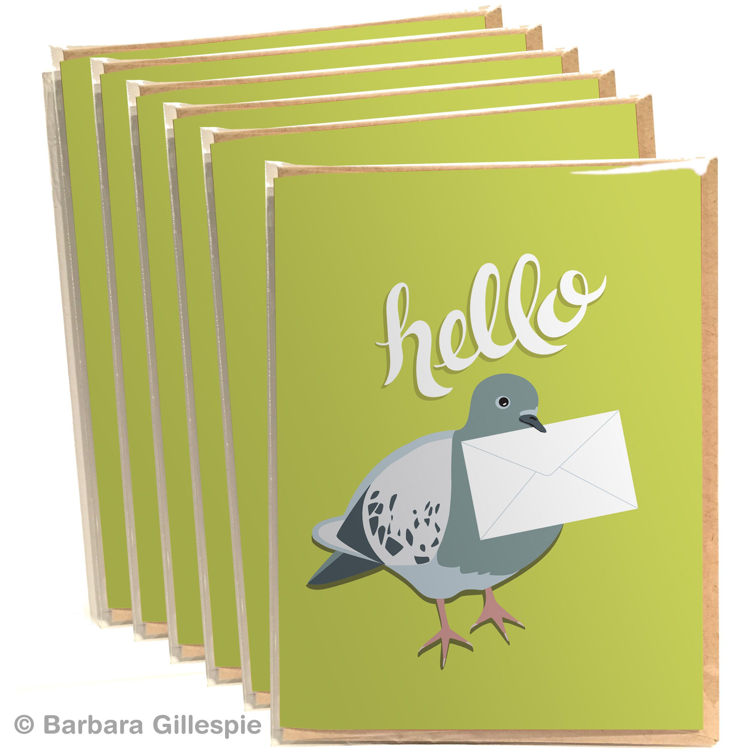 Set Of 6 Cards Pigeon Greeting Card Set Hello Card Set Just