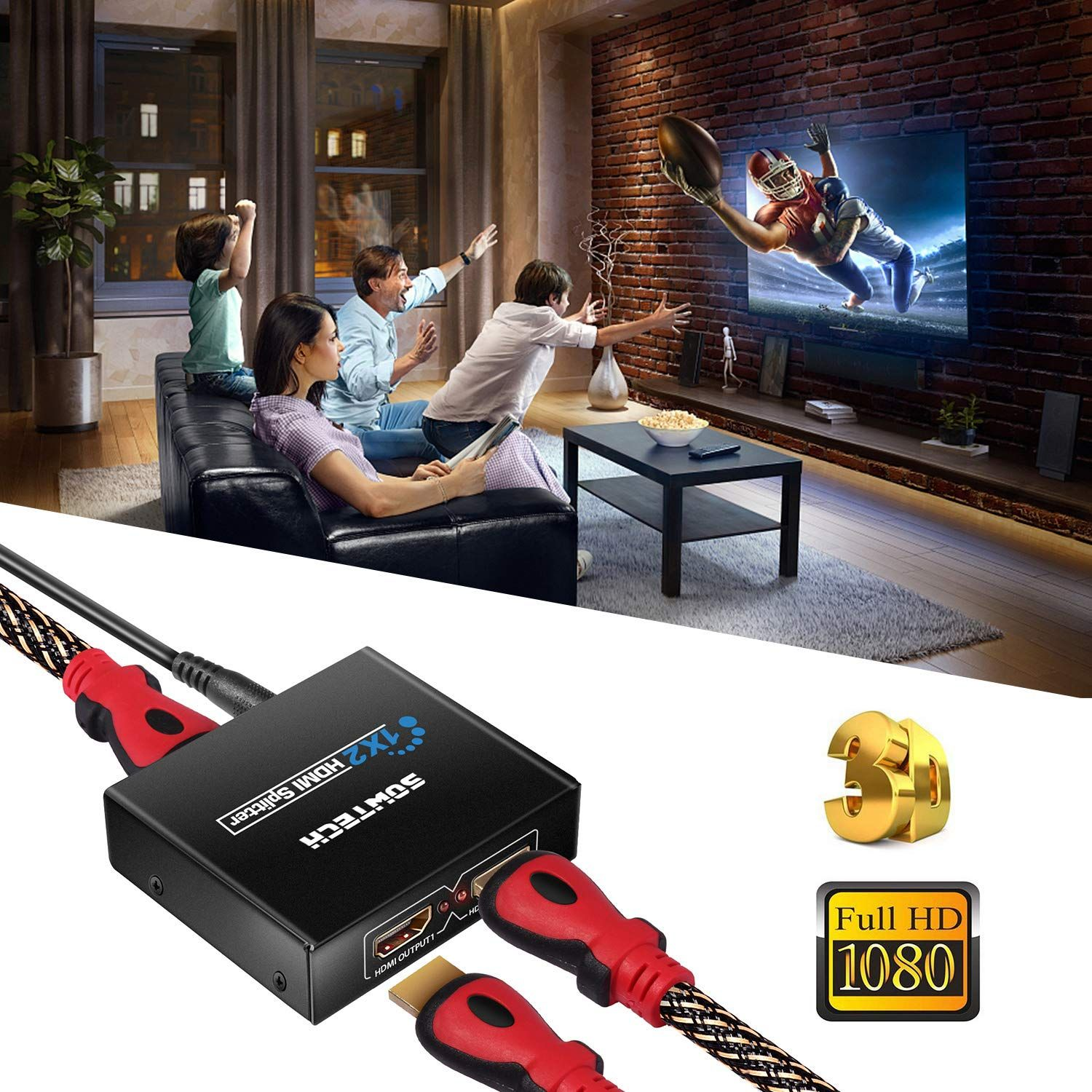 SOWTECH 1X2 HDMI Splitter Version 1 4 Full HD 1080P Powered HDMI