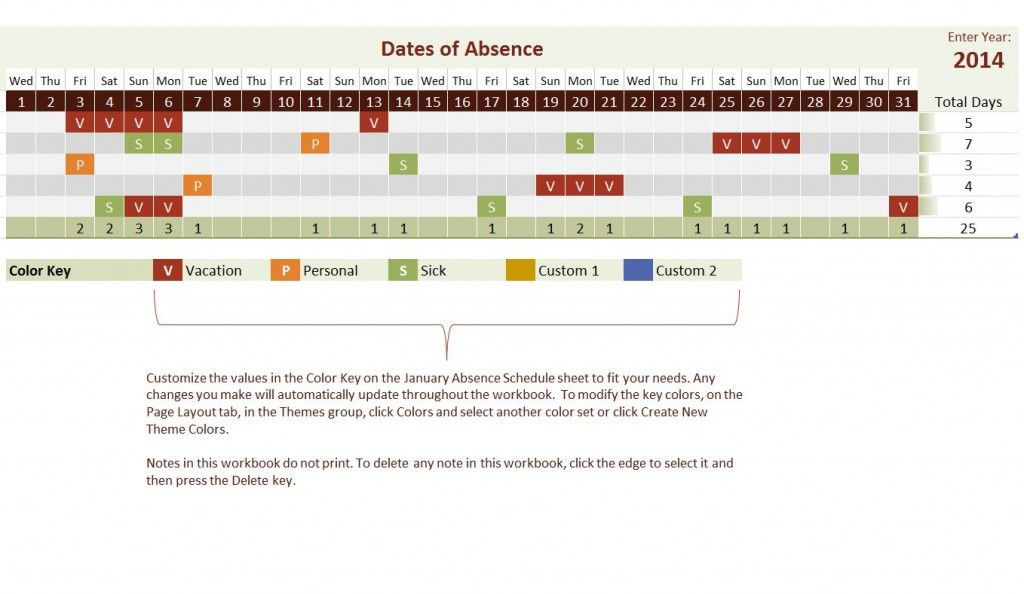 Free 2014 Employee Vacation Tracking Calendar Template templates - calendar template excel