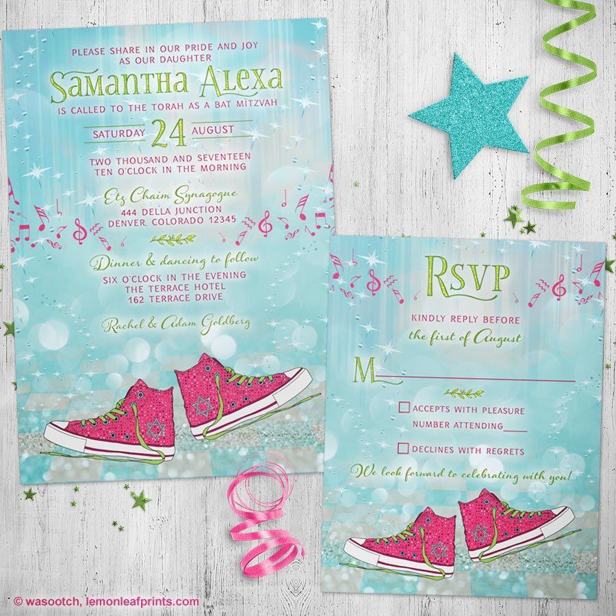 96e9f077dd910d Super cute Converse sneakers magical ballroom dance Bat Mitzvah invitation  and RSVP card. Fun eclectic mix and fantasy
