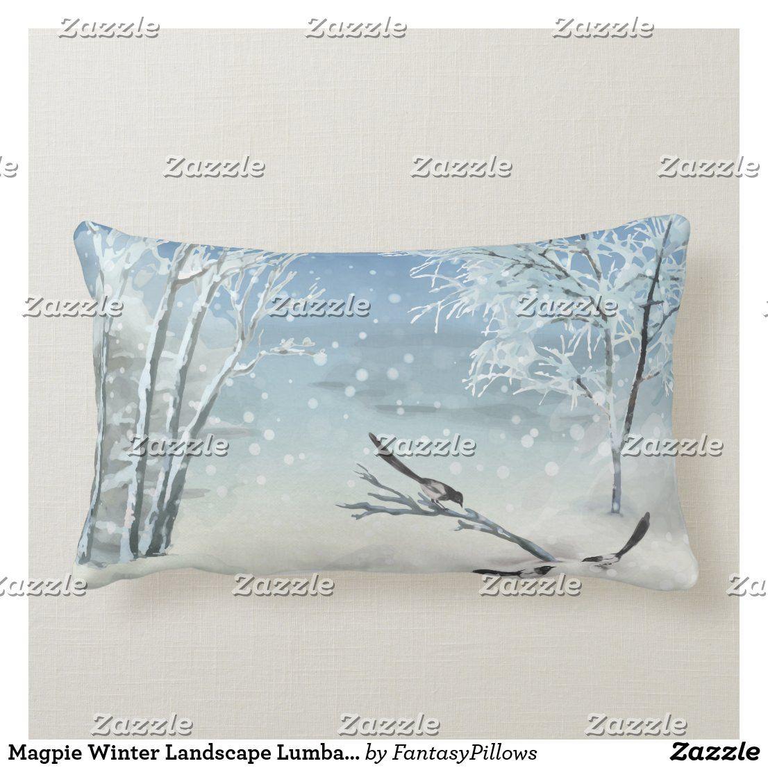Magpie Winter Landscape Lumbar Pillow Zazzle Com Bird Pillow Lumbar Pillow Christmas Pillows
