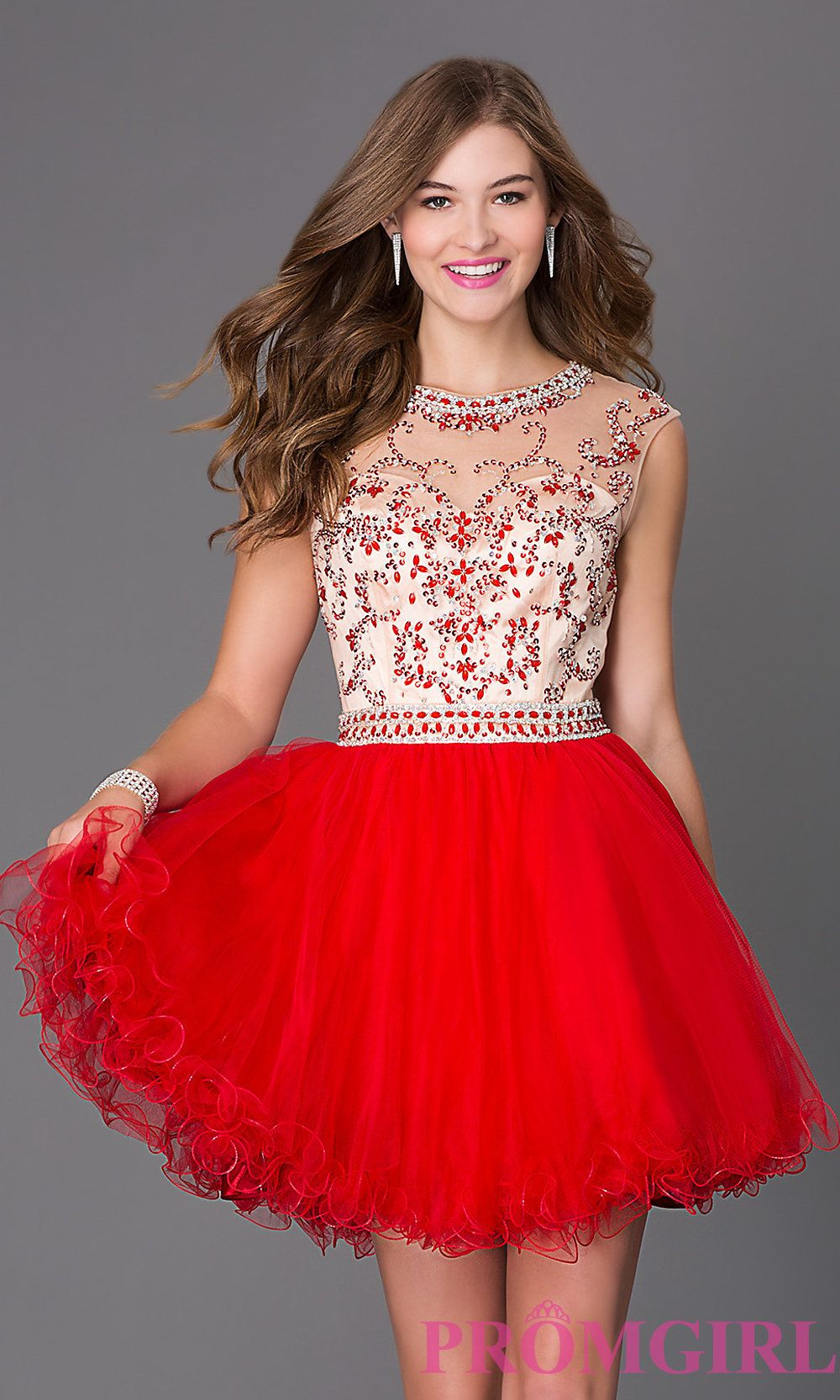 Beaded open back short fit and flare homecoming dress homecoming