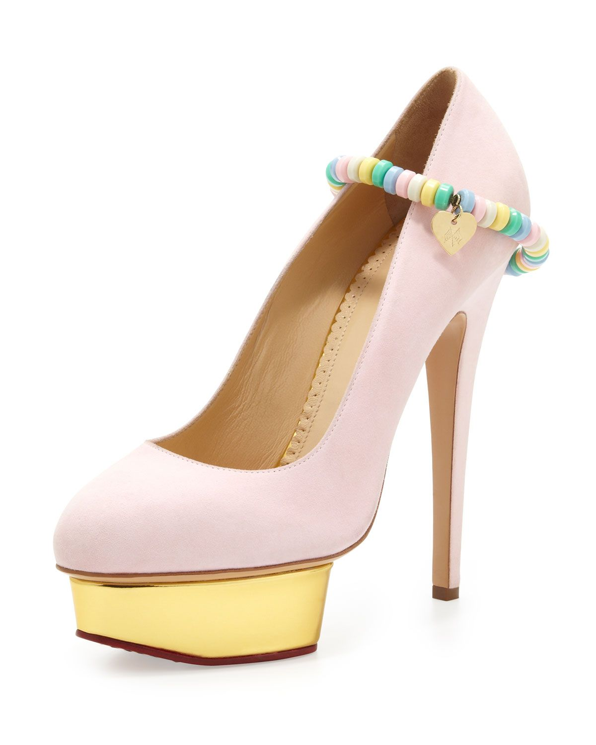 8a9b0f30cef Charlotte Olympia Sweet Dolly Pump with Candy Anklet in Pink (CANDY FLOSS)