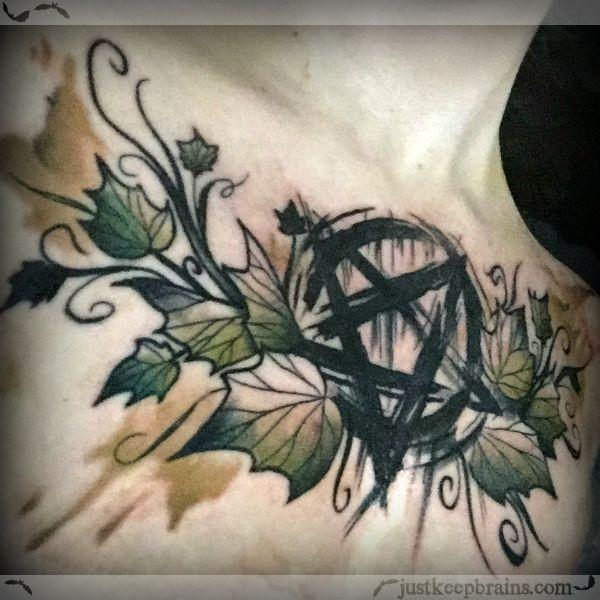 Inverted Pentagram Pentacle Tattoo Watercolor Sketchy Style