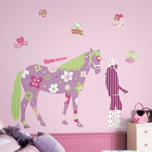 Horse Crazy Giant Wall Stickers Animal Theme Wall Decorations - Wall decals horses