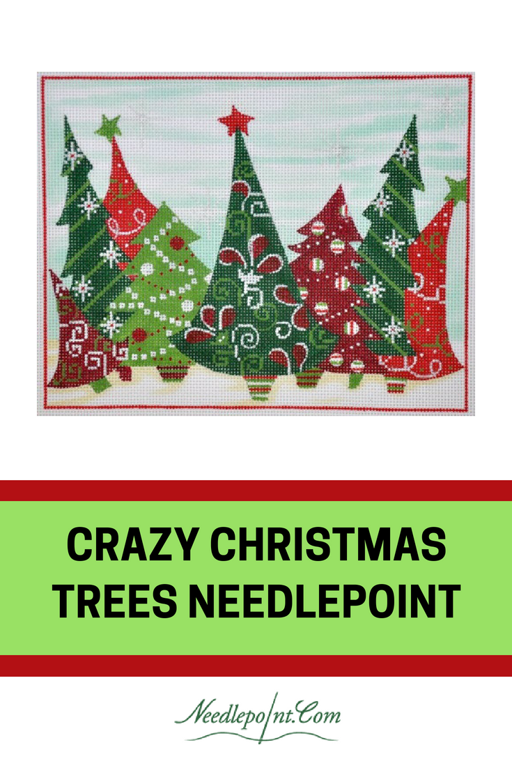 Crazy Christmas Trees Needlepoint From Alice Peterson Click For Canvas Needlepoint Needlepoin Needlepoint Christmas Christmas Quilts Christmas Tree Pattern