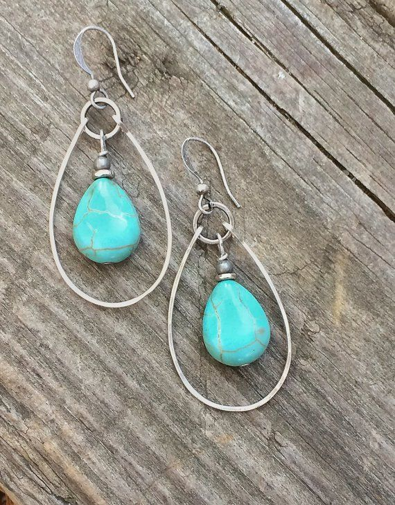 Turquoise Earrings, Silver and Turquoise Hoop Earrings ...