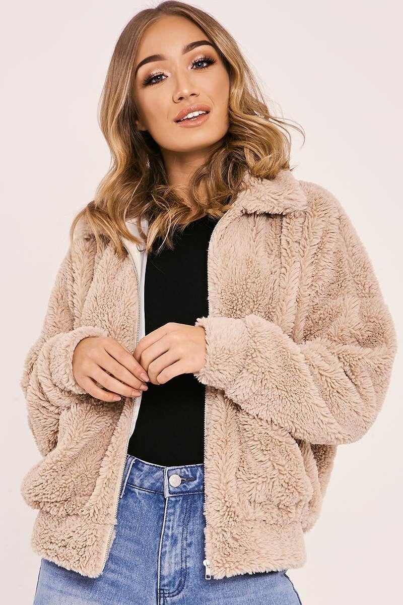 ed6c8667d Kaelia camel teddy fur bomber jacket in 2019 | attire de me: winter ...