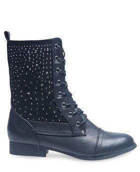 Black Rhinestone Studded Combat Boots - Wet Seal