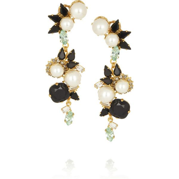 Erdem + VICKISARGE gold-plated Swarovski pearl and crystal clip... ($170) ❤ liked on Polyvore featuring jewelry, earrings, accessories, brinco, white, clip earrings, clip on earrings, crystal clip earrings, white earrings и multi color earrings