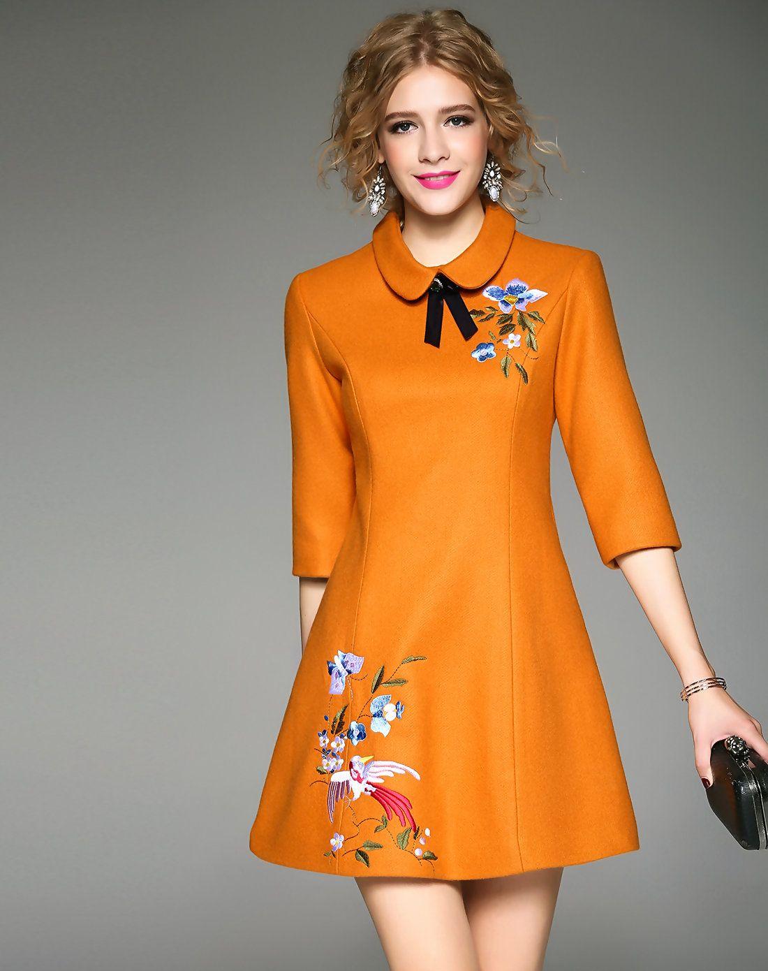Adorewe Qeexi Dark Yellow Embroidery A Line Half Sleeve Woolen Dress Adorewe Com Vestidos Estilosos Moda Feminina Vestidos Legais