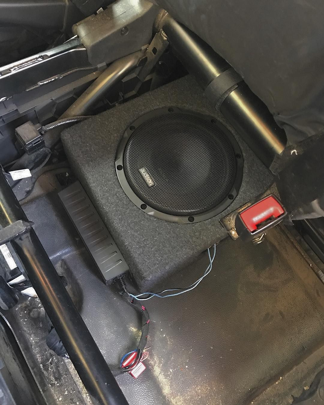 Audison Prima APS 8D Subwoofer installed in a specific MDF Box into