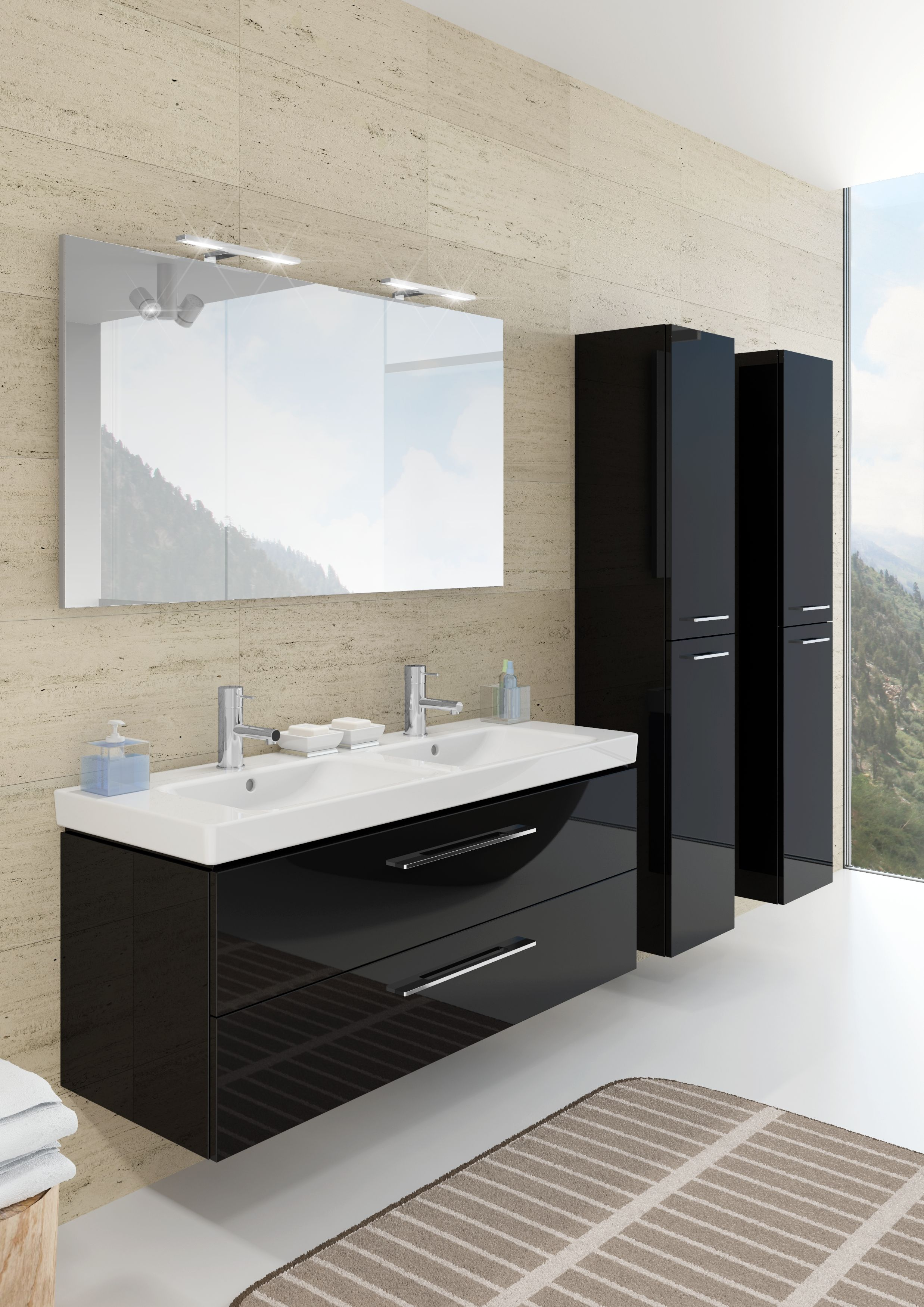 modern bathroom furniture altare in glossy black with washbasin in ceramic from villeroy en boch - Villeroy And Boch Bathroom Furniture