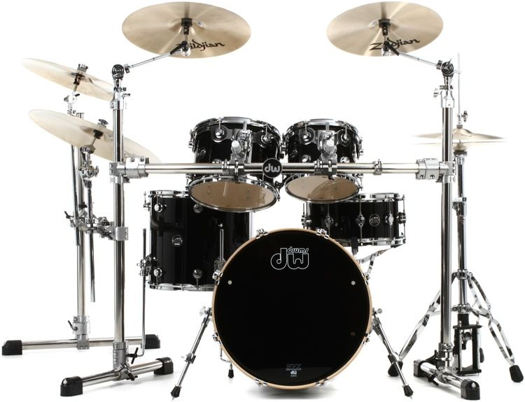 4 Piece Maple Shell Pack With 10 And 12 Toms 14 Floor Tom And 20 Bass Drum Gloss Black Finishply Drums Drum And Bass Gloss Black