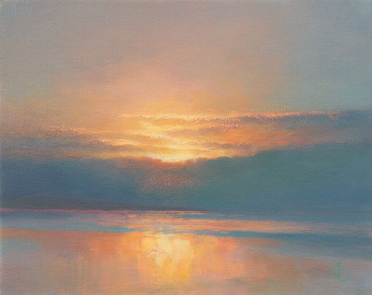 January Sunset Oil Painting Of Sunset Over The Water Sunset