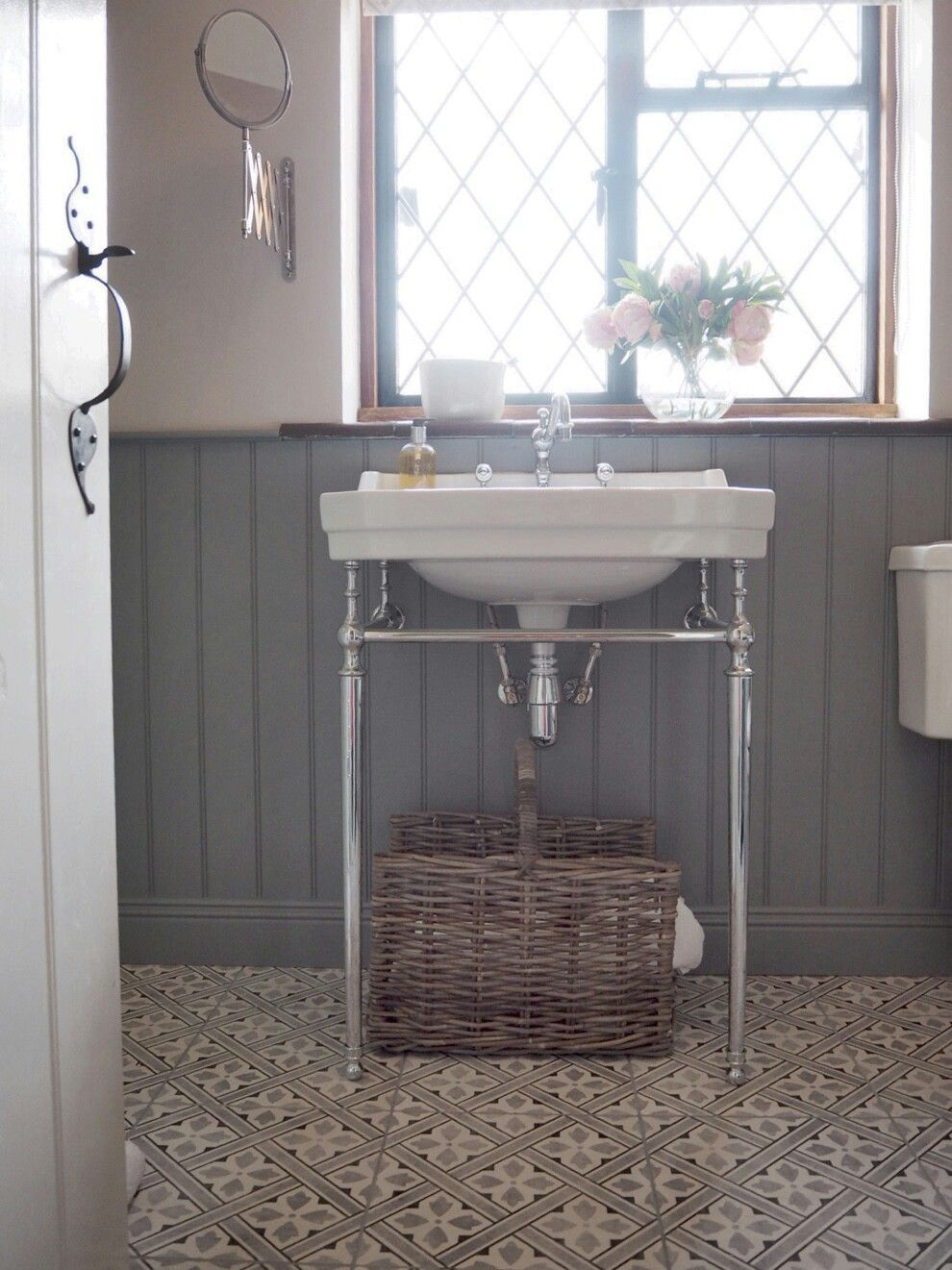 Laura Ashley Mr Jones Charcoal With Mid Grey Grout Needs To Be Lighter Or White I Think Victorian Style Bathroom Laura Ashley Mr Jones Traditional Bathroom