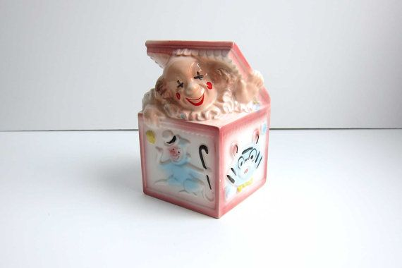 EO Brody Pottery Ceramic Pink Clown Jack-in-the Box Baby