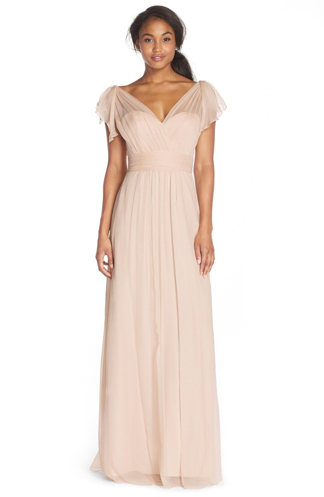 Am Flutter Sleeve Silk Chiffon Gown Available At Nordstrom Bridesmaid Long Dresses