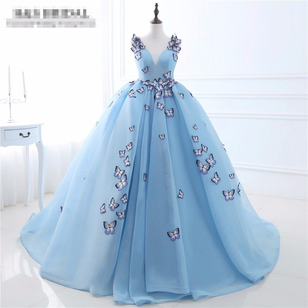 V-neck Blue prom dress With Butterfly Backless ball gown prom ...