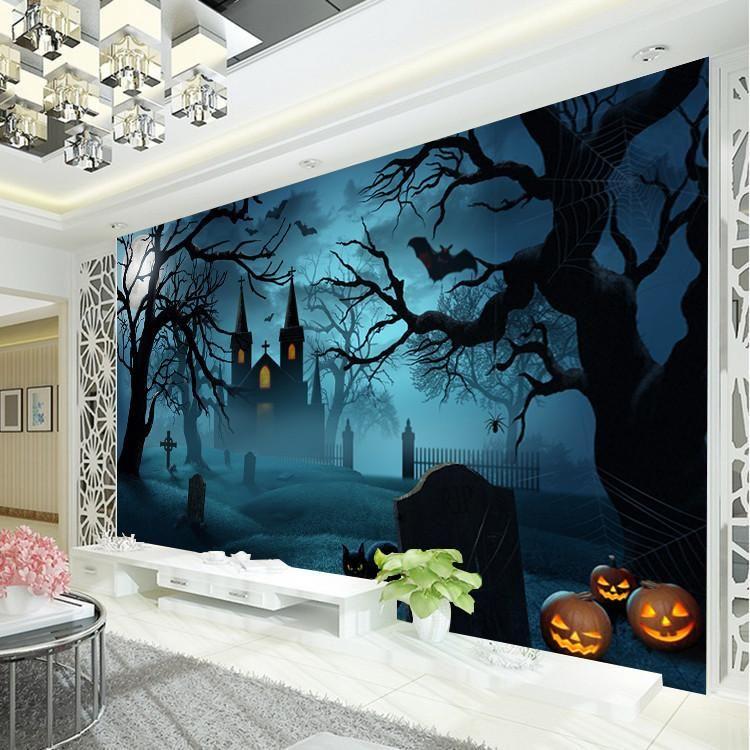 Halloween Horror Photo Wallpaper pumpkin lamp Wallpaper Custom Dark