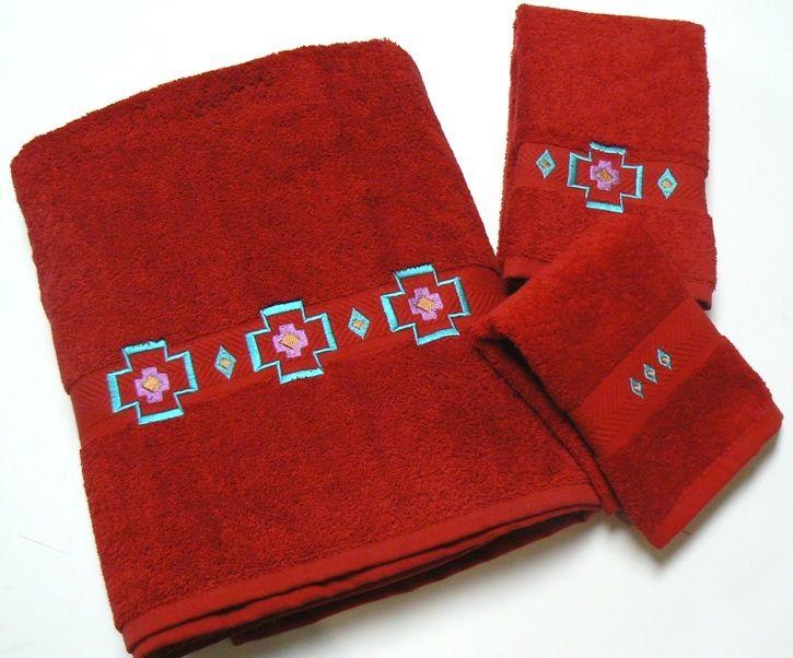 Chimayo Southwest Embroidered Pomegranate 3 Pc Bath Towel Set