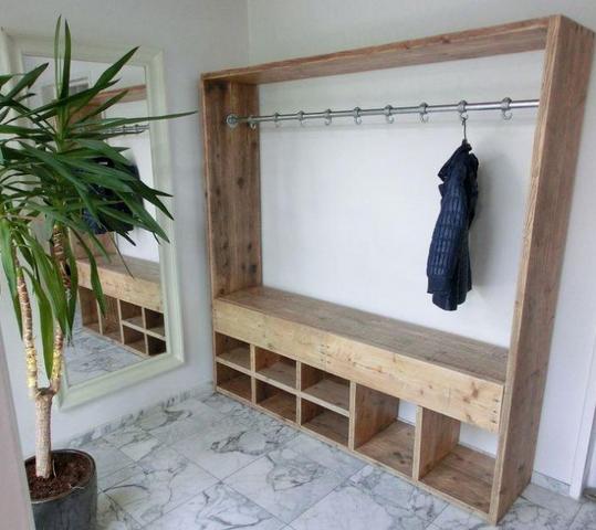 Garderobe rek voor 40 jassen (met haken)