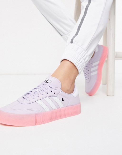 ayudante Eh Guau  adidas Originals Samba Rose trainers with heart detail in lilac and pink    ASOS in 2020   Sneakers, Trainers women, White trainers