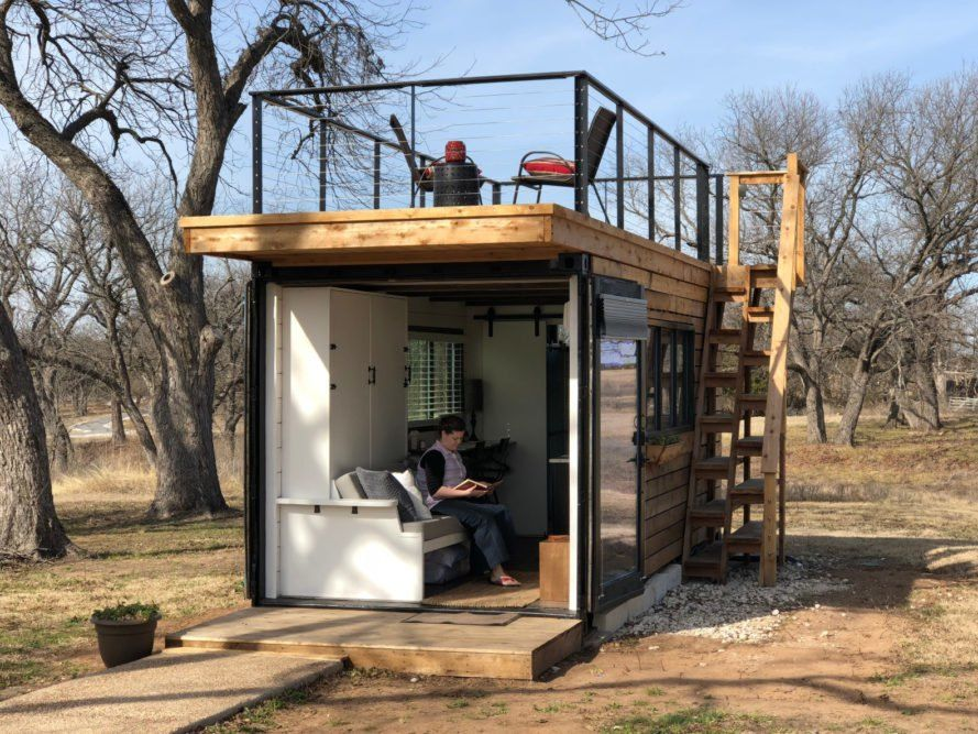 This Tiny Home With A Rooftop Deck Is Made From Two Shipping Containers Container House Cargo Home Container House Plans