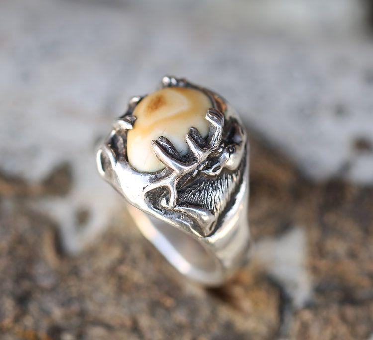 Custom Hand Carved Elk Tooth Elk Ivory Ring Elk Ivory Custom Wedding Rings Beautiful