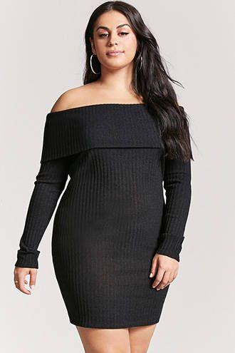 e10458f19 Plus Size Off-the-Shoulder Sweater Dress   MODA em 2019   Moda, Tendências  da moda e Tendencias