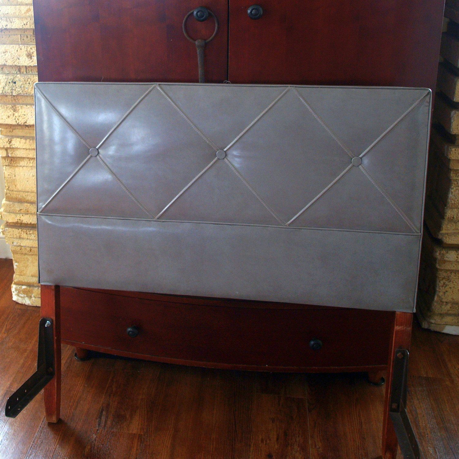 VINTAGE MIDCENTURY MODERN1950s Headboard Mid Century Grey Faux Leather  Upholstered Tufted Button Walnut Wood Retro Bedroom