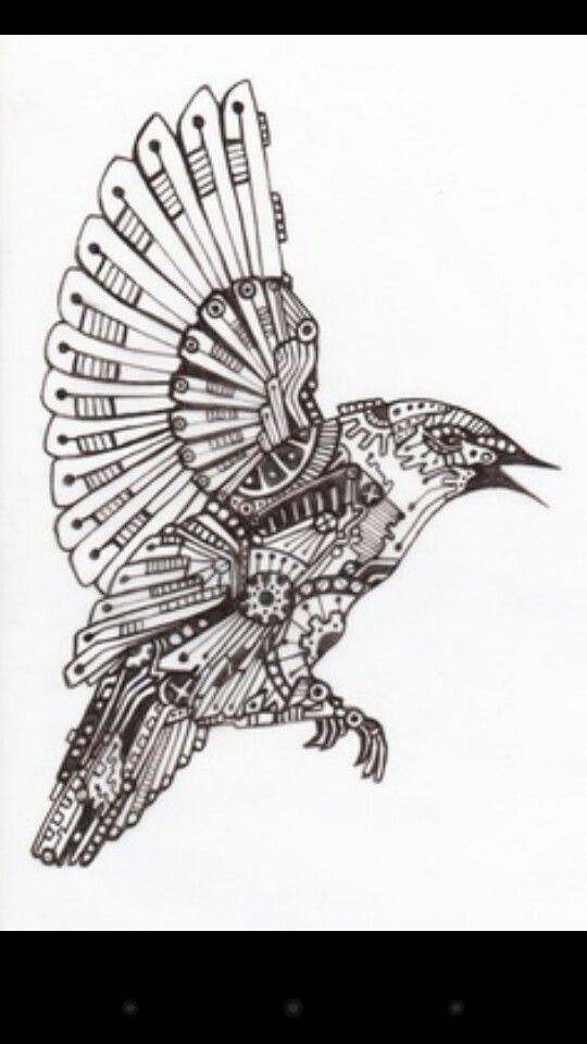 Mechanical Bird Steampunk Bird Mechanical Art Steampunk Coloring