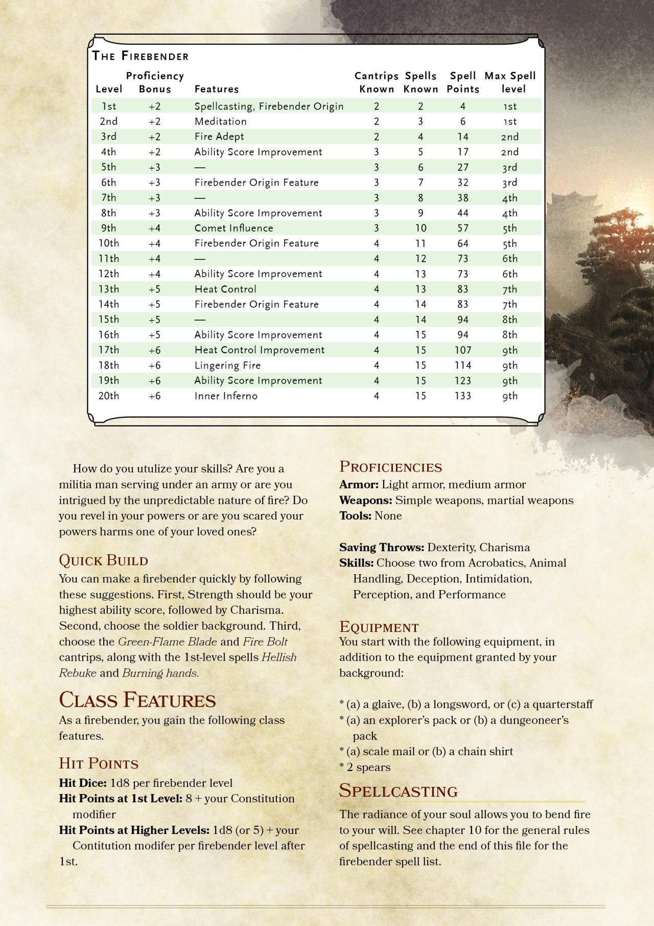 DnD 5e Homebrew — Avatar's Firbender Class by Zuroyuso