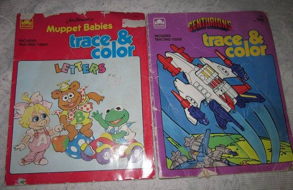$4.50 ~ Vintage Set of Trace and Color Books  Muppet Babies ~ 1988  Centurions ~ 1986  a few pages with coloring / writing ~ mostly empty pages!