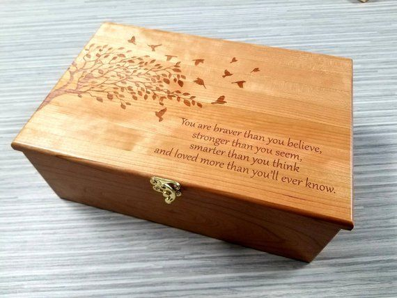 Beautiful Hand Made Large Wooden Memory Box Personalized