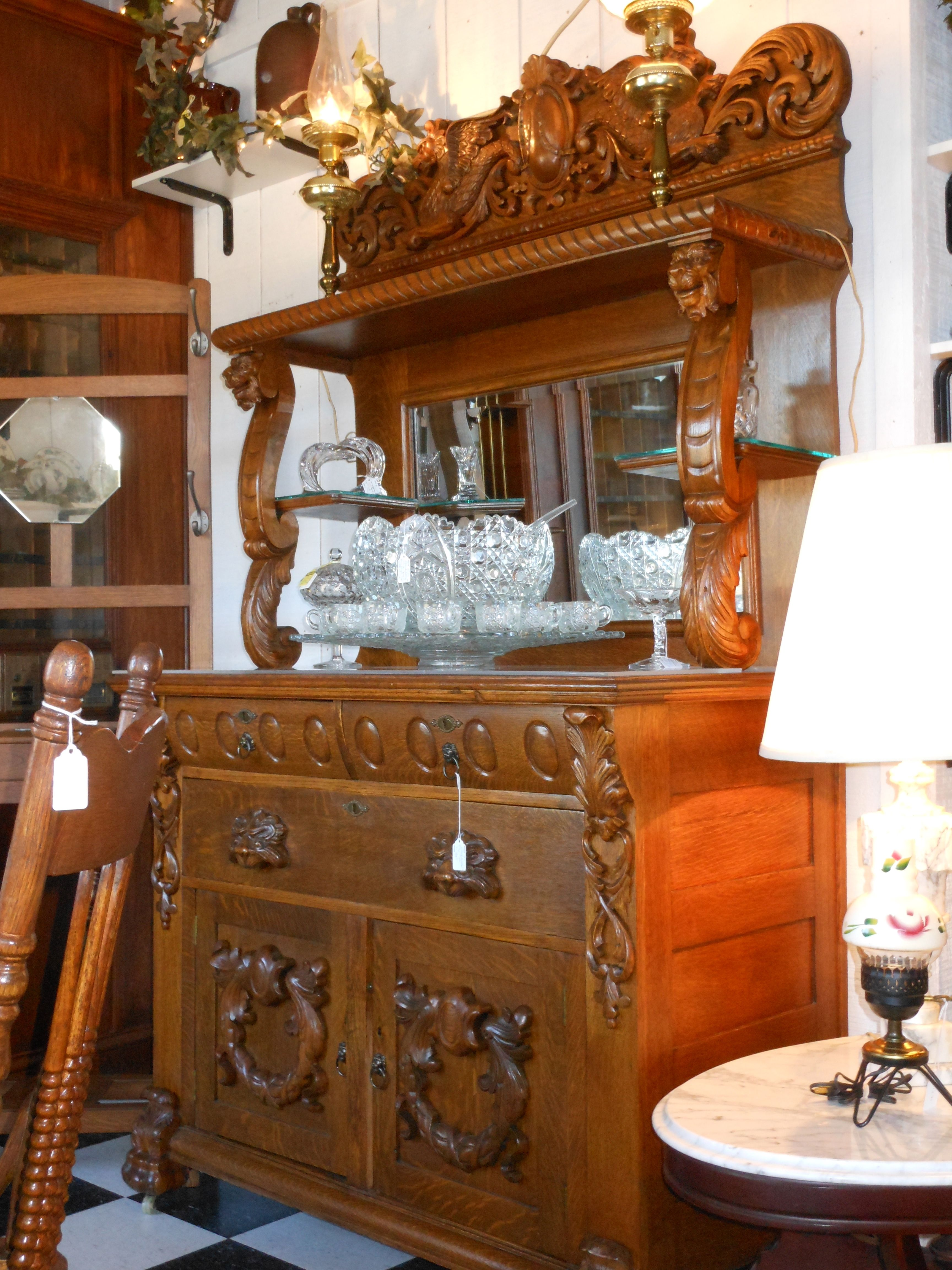 Stunning French Antique Gothic Tiger Oak Buffet with Heavily ...