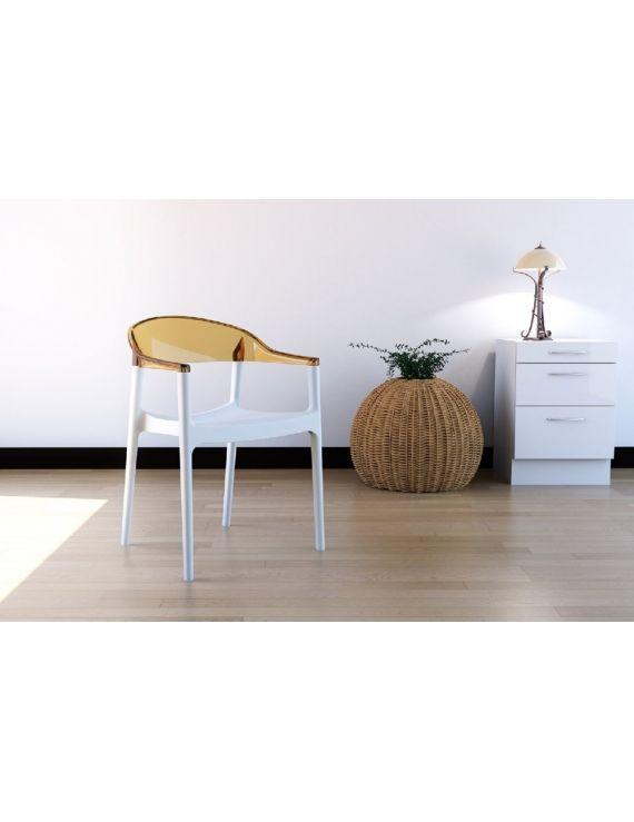 Krzesło CARMEN białe / bursztynowe przezroczyste Krzesła