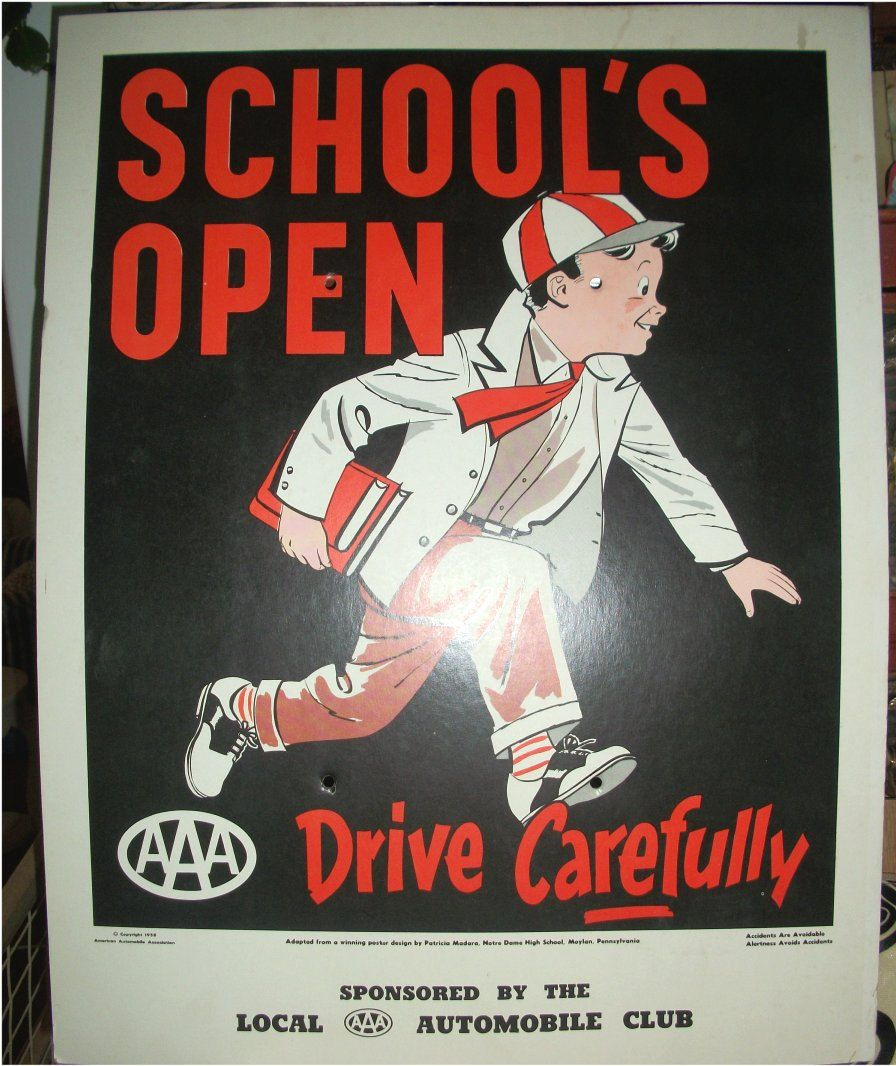 Vintage AAA TRAFFIC POSTER School Safety Poster Contest