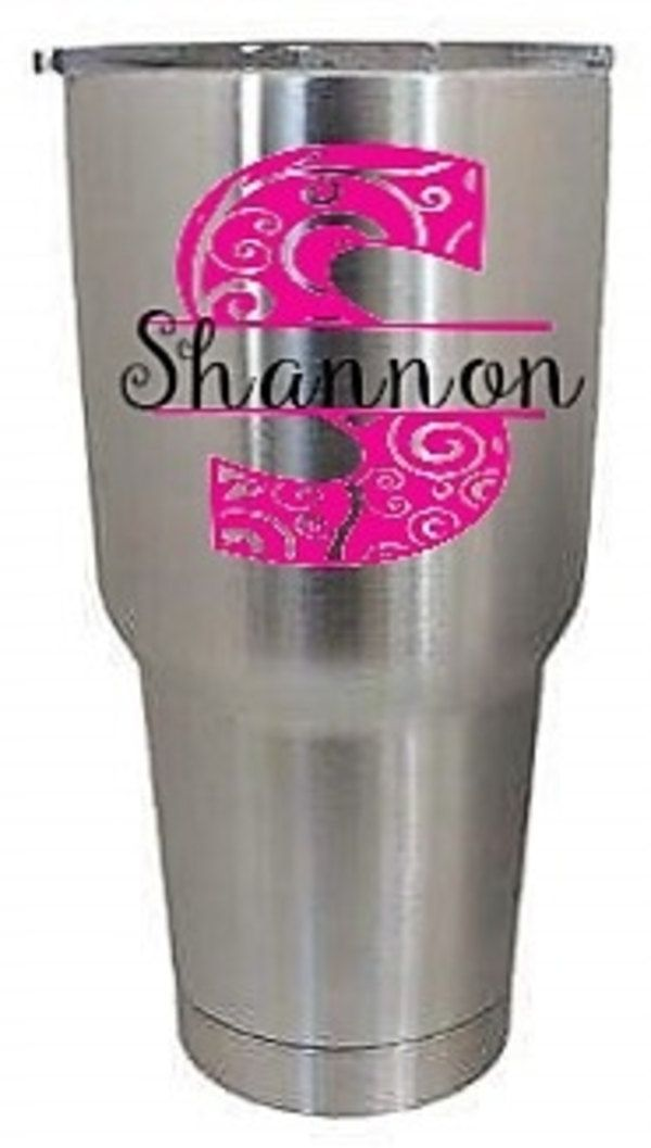 Glitter Monogram decal, car decal, personalized sticker, split initial name, custom split font, Tervis, Yeti, Corkcicle, Stainless Steel Cup