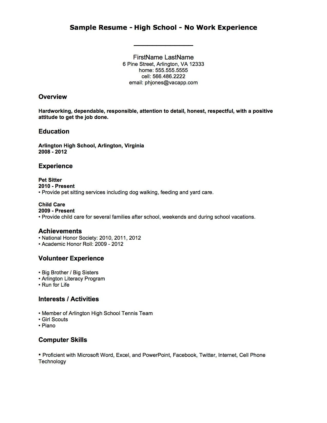 Resume Examples Job Experience First job resume, Job